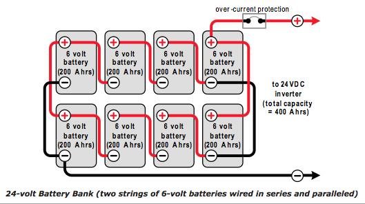 esquema baterias en serie y paralelo