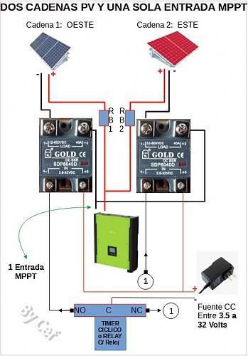2 Cadenas PV, 1 Entrada MPPT en inversor. Conmutación Automática. Diagrama.-esquemaespanol.jpg